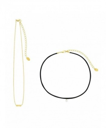 Sterling Forever - Black Leather with CZ and Gold Plated Chain Choker - Set of 2 - CM12NSL48BM