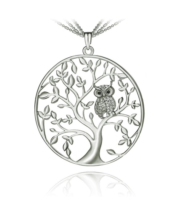 SCIONE Czech Stones Owl Kabala Tree of Life Pendant Necklace with 27 Inch Chain (Silver) - C712NSWJLOK