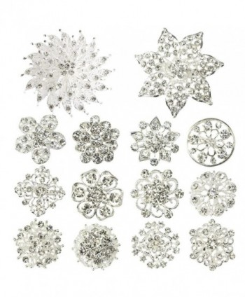 kilofly 14pc Bridal Rhinestone Crystal Flower Bouquet Corsage Wedding Brooch Pin - C012H6E4AOZ