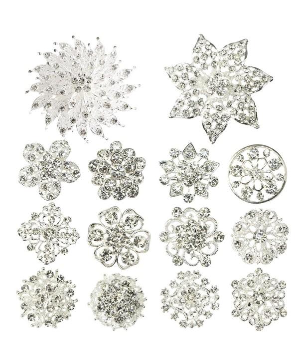 kilofly 14pc Bridal Rhinestone Crystal Flower Bouquet Corsage Wedding Brooch Pin - C012H6E4AOZ