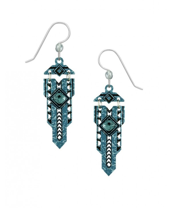 Adajio by Sienna Sky Blue Metal Art Deco Style 'Sword' Earrings 7788 - CF17XXO8C0X