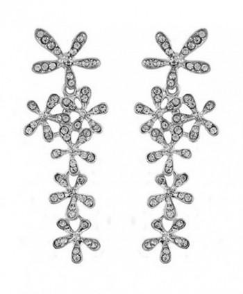 JOYJULY Flower Cryatal Earring Rhinestoone Crystal Dangle Earrings for Women Gold-Silver - Silver - CP184Q372XE