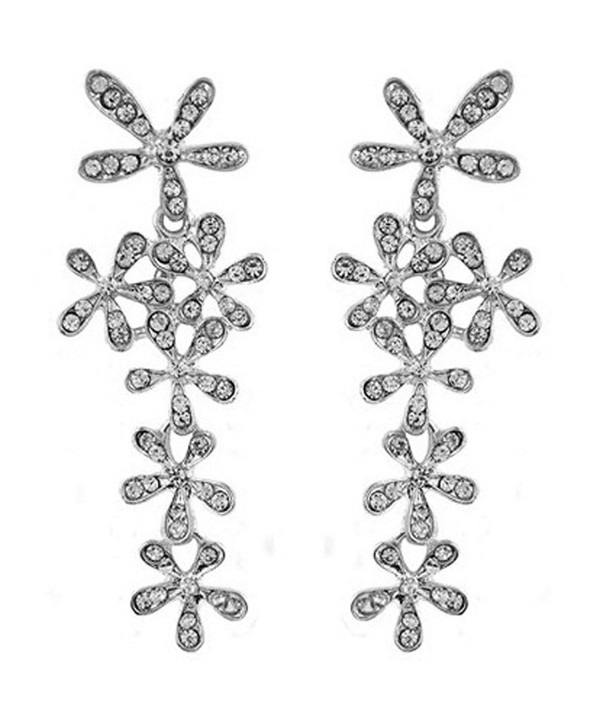 JOYJULY Flower Cryatal Earring Rhinestoone Crystal Dangle Earrings for Women Gold-Silver - Silver - CP184Q372XE