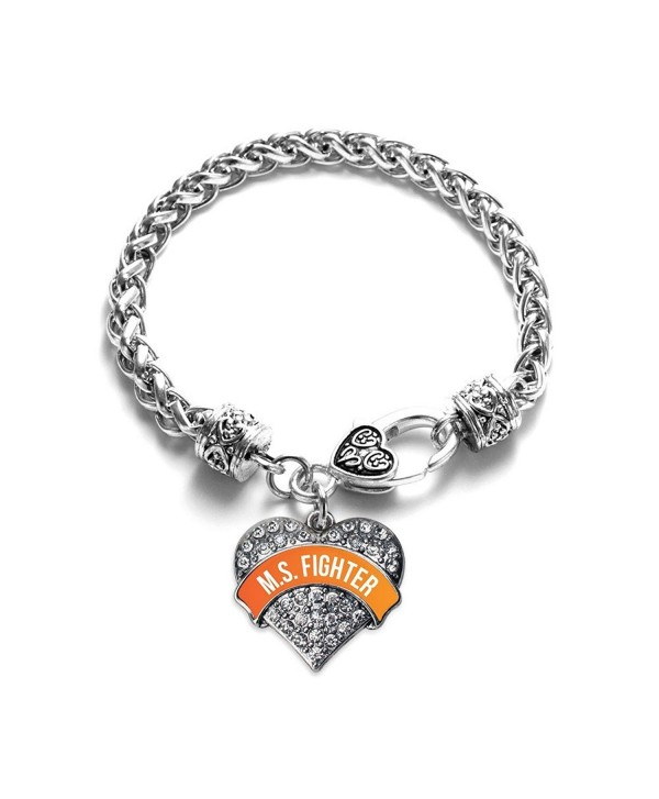 Inspired Silver M.S. FIGHTER Pave Heart Braided Bracelet - CT12F653R5Z