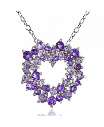 Sterling Silver African Amethyst- Amethyst and Diamond Accent Cluster Heart Necklace - CL12INSQUH9