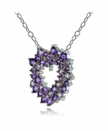Sterling African Amethyst Diamond Necklace