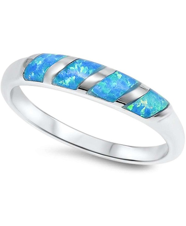 New Style Lab Created Blue Opal Band .925 Sterling Silver Ring Sizes 5-10 SRO17434 - CR11MBK6AKR