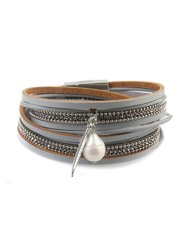 Genuine Leather Vintage Bracelet Jenia - leather wristband-gray - C418443WGHH