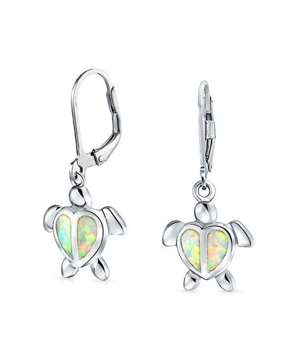 Bling Jewelry Synthetic White Opal Sea Turtle Rhodium Plated Silver Leverback Earrings - CQ11JXX53T5