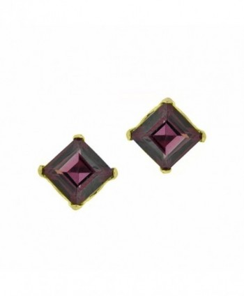 .80 cttw Square 4MM Red Rhodalite Garnet 10K Yellow Gold Stud Earrings - C412EKLFP8D