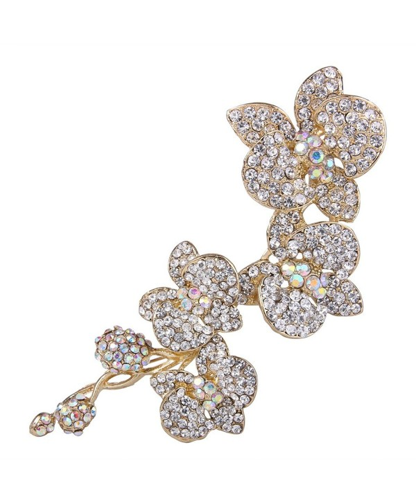 EVER FAITH 5 Inch Flower Orchid Clear Austrian Crystal Brooch Pendant Gold-Tone - CC11BGDKZ93