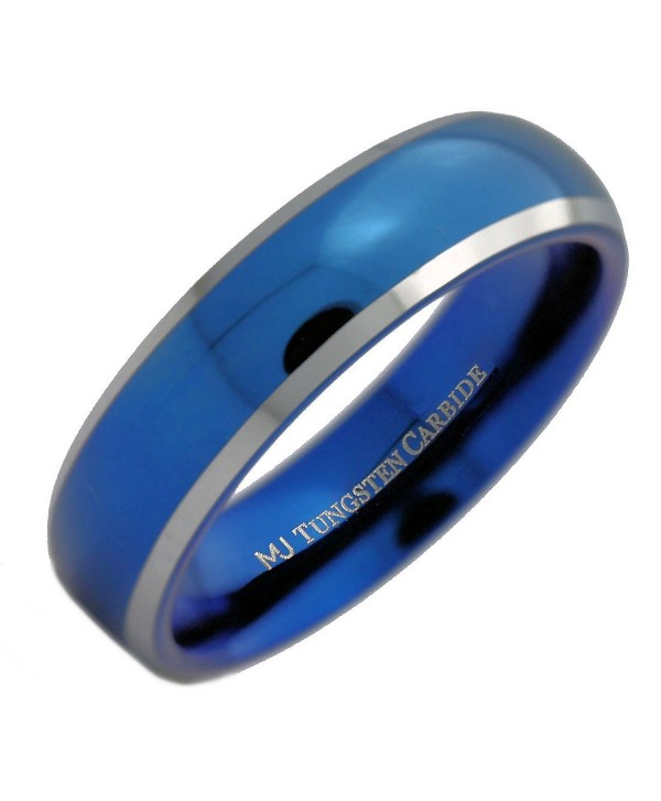 MJ 6mm Blue Plated Inside and Outside Tungsten Carbide Wedding Band Ring - C612N7ZKZZD