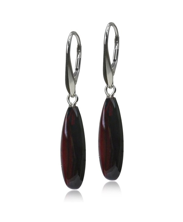 Sterling Silver Red Dark Amber Tear Drop Contemporary Leverback Earrings - C811F6GYSIZ