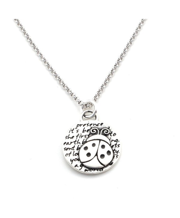 "Kevin N Anna Ladybug (Presence quote) Sterling Silver Small Pendant Necklace- 18"" - CC126XZVOCF"