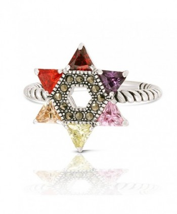 JanKuo Jewelry Rhodium Plated Multicolor Cubic Zirconia Jewish Star of David Twisted Rope Ring - CP11AZJ0TNP