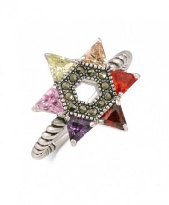 JanKuo Jewelry Rhodium Multicolor Zirconia in Women's Statement Rings