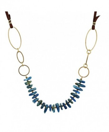 Brass or Zinc Open Round or Oval Shapes Accent Irregular Stones Necklace- Expandable - C312MY2P59D