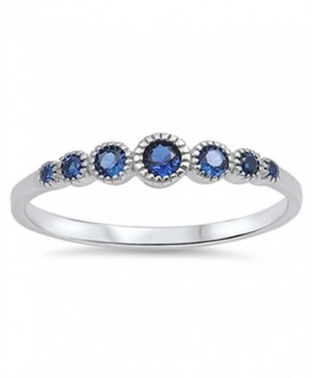 CHOOSE YOUR COLOR Sterling Silver Round Ring - Blue Simulated Sapphire - CH123V1CMYD