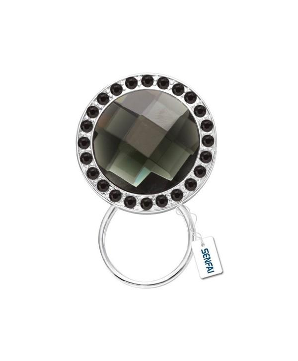 SENFAI 7 Color Shinning Crystal Round shape Magnetic Eyeglass Holder Brooch Jewelry - CO12GDTL7RD