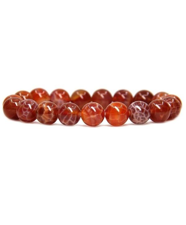 Natural Genuine Semi Precious Gemstones Bracelet - Red Crab Fire Agate - CW183LRISX5