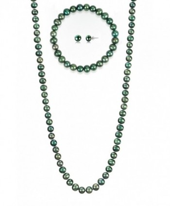 7-7.5mm Cultured Freshwatrer Pearl Necklace Bracelet and Earring Set in .925 Sterling Silver - Green - CF183COHEKX