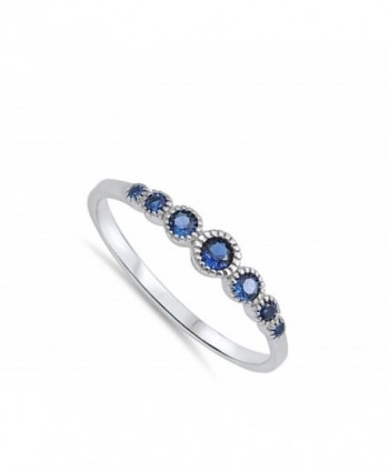 Womens Simulated Sapphire Sterling Silver in Women's Band Rings