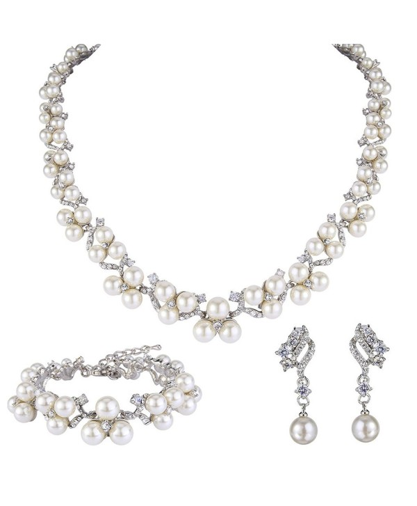 EVER FAITH Austrian Crystal CZ Simulated Pearl Victorian Style Necklace Earrings Bracelet Set Clear - C7124BEAO1B