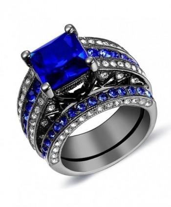 Halo Sapphire Round-Cut Women's Ring Se Fashion Jewelry Gift - CX120SRCKCR