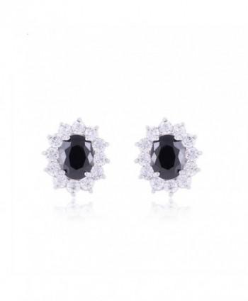TRUSUPER Luxury White Gold Plated Oval Cut Cubic Zirconia Stud Earrings - Black - CB11Y0SNUWZ