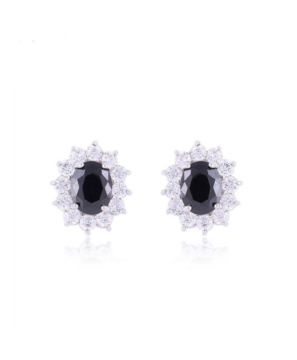 TRUSUPER Luxury White Gold Plated Oval Cut Cubic Zirconia Stud Earrings - Black - CB11Y0SNUWZ