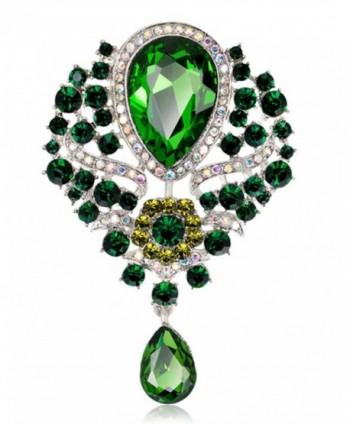 YiYi Operation Teardrop Flower Austrian Crystal Bouquet Brooch Pendant Pins Bridal Jewerly - Green - CP17YCDZI0I