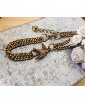 Swallow Bracelet Vintage Solid Bronze in Women's Strand Bracelets