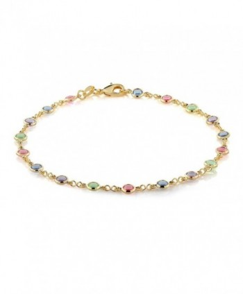 10 Inch Multi-Color Crystal & Gold Plated Brass Anklet Bracelet - CP116UD9NDD