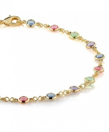 Multi Color Crystal Plated Anklet Bracelet