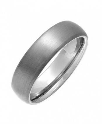 6mm Dome Brushed Plain Titanium Ring Womens Wedding Bands Comfort Fit Size 5-16 - CX12NU3BYLL