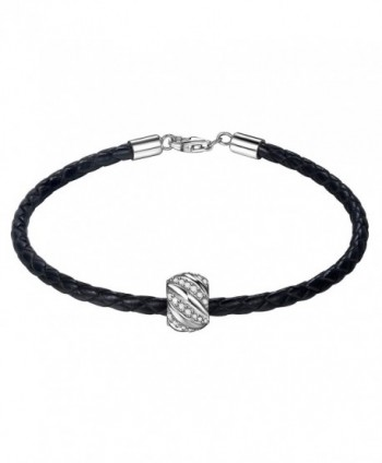 ZENI Leather Bracelet Sterling Zirconia - C5188UHXCHA