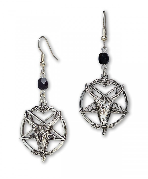 Baphomet Satanic Goat Head Inverted Pentagram Silver Finish Dangle Earrings - C11874TQRAH