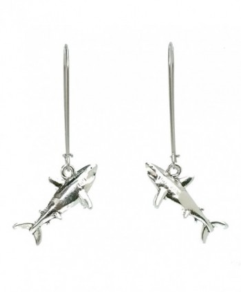 Sabai NYC Creatures of the Sea Charm Shark Dangle Earrings on Stainless Steel Earwires - C71294GPAGF