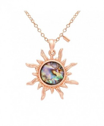 MANZHEN Gold Tone Fashion Sun Sunflower Pendant Natural Abalone Shell Charm Necklace for Women - rose gold - CM17YHCS883