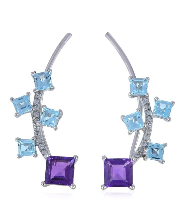 925 Sterling Silver Square Blue Topaz & Amethyst Gemstone Women's Ear Crawler Climber Cuff Earrings - CJ1834CTZ4X