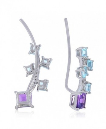 Sterling Amethyst Gemstone Crawler Earrings