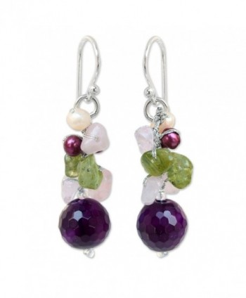 NOVICA Dyed Cultured Freshwater Pearl Cluster Earrings with Agate- Quartz and Peridot- 'Princess Legend' - CF11G3W2E7D