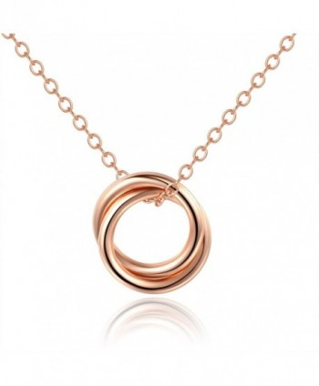 "Mother Daughter NecklaceDouble Circles Necklace Sterling Silver 925 Pendant Necklace16+1"" Extender - Rose Gold - CF180CGE8TD"