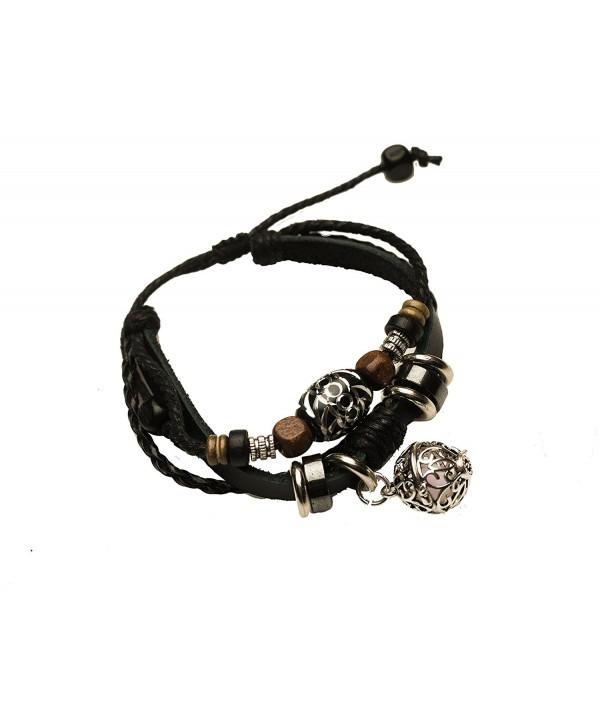 Essential Oil Diffuser Bracelet - Aromatherapy Jewelry - Boho Black Leather Band Bracelet with Locket Charm - CI187WS8L2H