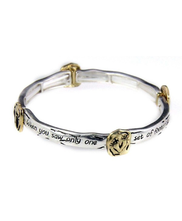 4030621 Footprints Poem Stretch Bracelet Christian Jesus Bible Religious Jewelry - CF11BB66KM1