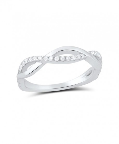 Sterling Silver Cz Stackable Twisted infinity Ring (Size 4 - 9) - C712CX3MM7R