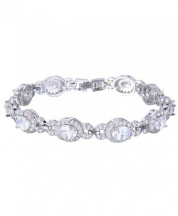 EVER FAITH Silver-Tone Oval Cubic Zirconia Wedding Roman Tennis Bracelet Clear - CA12C88X9E7