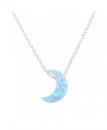 Light Blue Moon Opal Necklace. Half Moon Necklace Crescent Opal Moon Charm Necklace - CW129CLX9GV