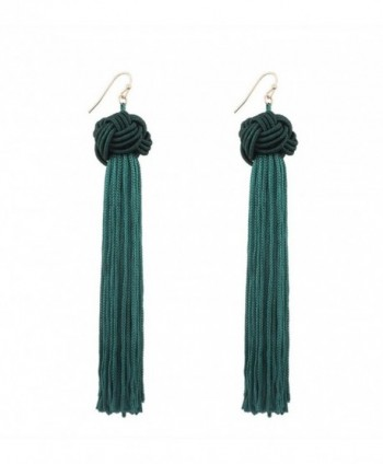 SUNGULF Long Tassel Knotted Earrings Drop Dangle Earring for Women - Green - CH184Q9NI6T