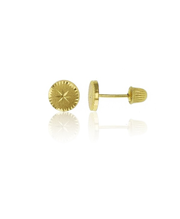 14K Yellow Gold Diamond Cut Circle Hat Screw-back Stud Earring - CD12LITK09T